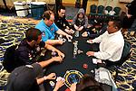 Tough table: Andre Akkari, Greg Raymer, Lex Veldhuis & Dario Minieri.