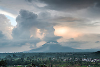 Sinabung Volcano erupting at sunset, Berastagi (Brastagi), North Sumatra, Indonesia