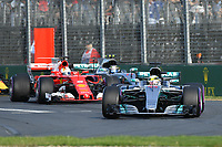 March 26, 2017: Lewis Hamilton (GBR) #44 from the Mercedes AMG Petronas team leads the cars into turn one on lap one of the 2017 Australian Formula One Grand Prix at Albert Park, Melbourne, Australia. Photo Sydney Low
