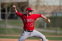 Los Angeles Angels relief pitcher Doug Willey (47) during a Minor League Spring Training game against the Chicago Cubs at Sloan Park on March 20, 2018 in Mesa, Arizona. (Zachary Lucy/Four Seam Images)