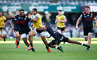Aphelele Fassi of the Cell C Sharks tackling Ngani Laumape of the Hurricanes during the Super Rugby match between Cell C Sharks and Hurricanes at Jonsson Kings Park Stadium in Durban, South Africa on Saturday, 1 June 2019. Photo by Steve Haag / stevehaagsports.com