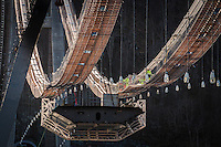 Steel workers readying to begin attaching the cables onto first road section on Dalsfjord Bridge in Dale i Sunnfjord, Norway.
