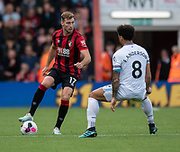 Bournemouth's Jack Stacey (left) under pressure from West Ham United's Felipe Anderson (right) <br /> <br /> Photographer David Horton/CameraSport<br /> <br /> The Premier League - Bournemouth v West Ham United - Saturday 28th September 2019 - Vitality Stadium - Bournemouth<br /> <br /> World Copyright © 2019 CameraSport. All rights reserved. 43 Linden Ave. Countesthorpe. Leicester. England. LE8 5PG - Tel: +44 (0) 116 277 4147 - admin@camerasport.com - www.camerasport.com