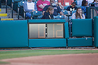The new 2015 pitch time clock during the Pacific Coast League game between the Nashville Sounds and the Oklahoma City Dodgers at Chickasaw Bricktown Ballpark on April 15, 2015 in Oklahoma City, Oklahoma. Oklahoma City won 6-5. (William Purnell/Four Seam Images)