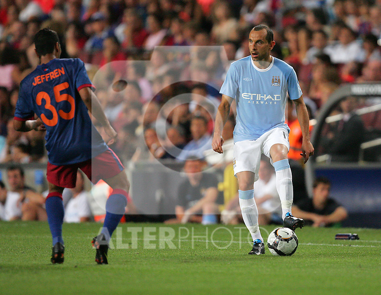 Manchester City goal scorer Martin Petrov during the Joan Gamper Trophy match between Barcelona and Manchester City at the Camp Nou Stadium on August 19, 2009 in Barcelona, Spain. Manchester City won the match 1-0.
