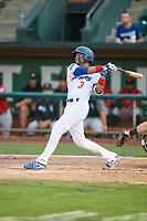 Ramon Rodriguez (3) of the Ogden Raptors bats against the Great Falls Voyagers at Lindquist Field on August 22, 2018 in Ogden, Utah. Great Falls defeated Ogden 3-1. (Stephen Smith/Four Seam Images)