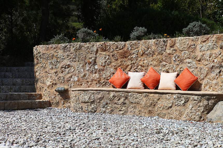 outdoor stone built-in sofa