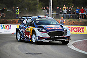 5th October 2017, Costa Daurada, Salou, Spain; FIA World Rally Championship, RallyRACC Catalunya, Spanish Rally; Sebastien Ogier and his co-driver Julien Ingrassia of France compete in their M Sport World Rally Team Ford Fiesta WRC during the shakedown