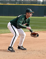 May 3, 2004:  Third baseman Brent Abernathy of the Buffalo Bisons, International League (AAA) affiliate of the Cleveland Indians, during a game at Dunn Tire Park in Buffalo, NY.  Photo by:  Mike Janes/Four Seam Images