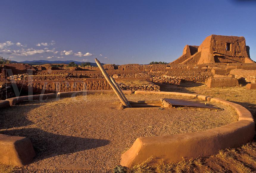AJ3880, New Mexico, pueblo, ruin, Pecos National Historical Park, New Mexico, Kiwa, ancient pueblo ruins at Pecos Nat'l Historical Park in the state of New Mexico.