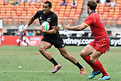 2nd February 2019, Spotless Stadium, Sydney, Australia; HSBC Sydney Rugby Sevens; New Zealand versus Spain; Sione Molia of New Zealand makes a run as Manuel Sainz-Trapaga of Spain approaches