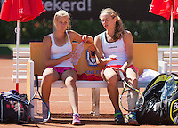 August 9, 2014, Netherlands, Rotterdam, TV Victoria, Tennis, National Junior Championships, NJK, Final double girls 16 years: Isolde de Jong (R) and  Nina Kruijer (NED)<br /> Photo: Tennisimages/Henk Koster