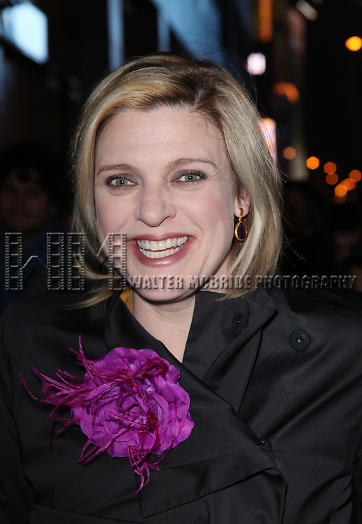 """Molly Price.leaving the Stage Door after the  Opening Night Performance of """"Death Of A Salesman"""" at The Barrymore Theatre New York City on 3/15/2012."""