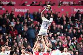 3rd December 2017, Twickenham Stoop, London, England; Aviva Premiership rugby, Harlequins versus Saracens; Maro Itoje of Saracens takes the lineout ball
