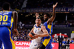 Real Madrid's Jonas Maciulis and Maccabi Fox's Victor Rudd during Turkish Airlines Euroleague match between Real Madrid and Maccabi at Wizink Center in Madrid, Spain. January 13, 2017. (ALTERPHOTOS/BorjaB.Hojas)