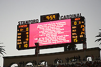 16 September 2006: The scoreboard recognizes 22 significant donors to the stadium during Stanford's 37-9 loss to Navy during the grand opening of the new Stanford Stadium in Stanford, CA.