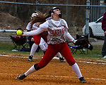 TORRINGTON, CT - 12 APRIL - 041219JW02.jpg -- Wolcott #28 Kaitlyn Ouellette pitches against Torrington Friday afternoon at Torrington. Wolcott won 20-2.   Jonathan Wilcox Republican-American
