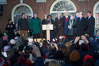 Senator Elizabeth Warren at Save Affordable Care Act rally with MA Congressional delegation at Faneuil Hall Boston MA 1.15.17