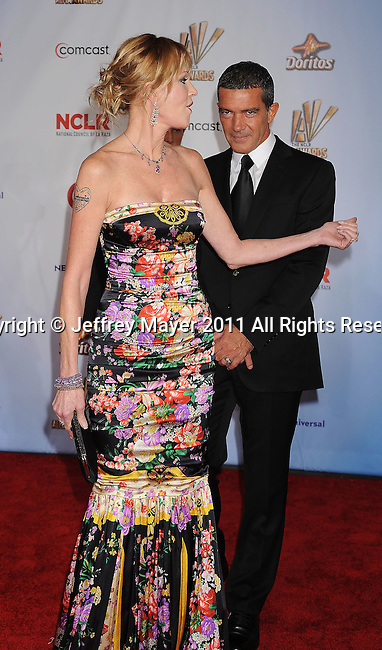 SANTA MONICA, CA - SEPTEMBER 10: Melanie Griffith and Antonio Banderas. attend the 2011 NCR ALMA Awards at Santa Monica Civic Auditorium on September 10, 2011 in Santa Monica, California.