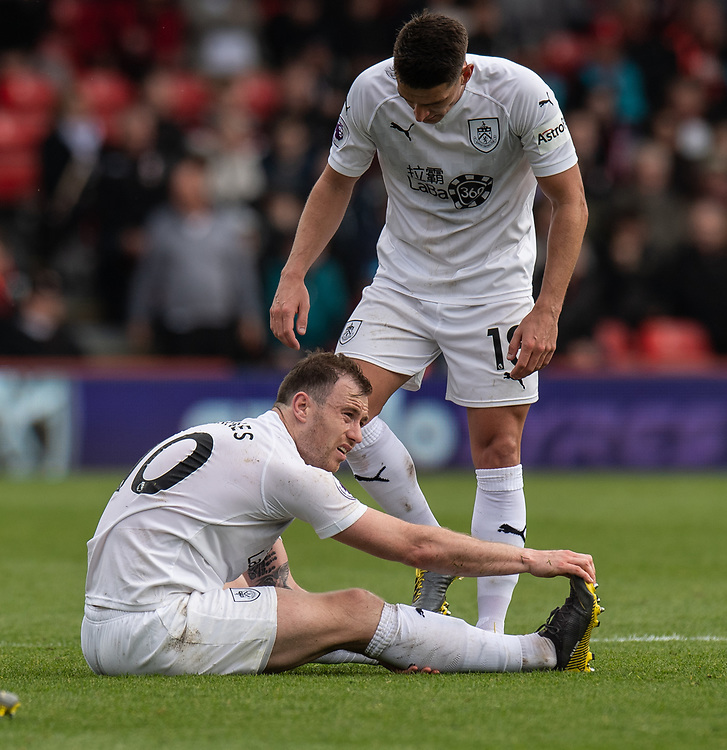 Burnley's Ashley Barnes (left) <br /> <br /> Photographer David Horton/CameraSport<br /> <br /> The Premier League - Bournemouth v Burnley - Saturday 6th April 2019 - Vitality Stadium - Bournemouth<br /> <br /> World Copyright © 2019 CameraSport. All rights reserved. 43 Linden Ave. Countesthorpe. Leicester. England. LE8 5PG - Tel: +44 (0) 116 277 4147 - admin@camerasport.com - www.camerasport.com