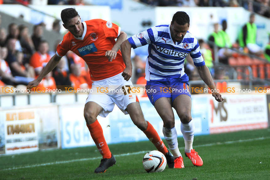Chris Basham of Blackpool battles for the ball with Hal Robson-Kanu of Reading - Blackpool vs Reading - Sky Bet Championship Football at Bloomfield Road, Blackpool, Lancashire - 24/08/13 - MANDATORY CREDIT: Greig Bertram/TGSPHOTO - Self billing applies where appropriate - 0845 094 6026 - contact@tgsphoto.co.uk - NO UNPAID USE