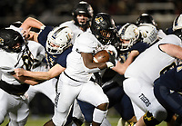 NWA Democrat-Gazette/CHARLIE KAIJO Bentonville Preston Crawford (1) carries the ball, Friday, November 8, 2019 during a football game at Bentonville West High School in Centerton.