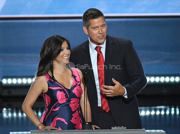 United States Representative Sean Duffy (Republican of Wisconsin) and his wife Rachel make remarks at the 2016 Republican National Convention held at the Quicken Loans Arena in Cleveland, Ohio on Monday, July 18, 2016.<br /> Credit: Ron Sachs / CNP/MediaPunch<br /> (RESTRICTION: NO New York or New Jersey Newspapers or newspapers within a 75 mile radius of New York City)