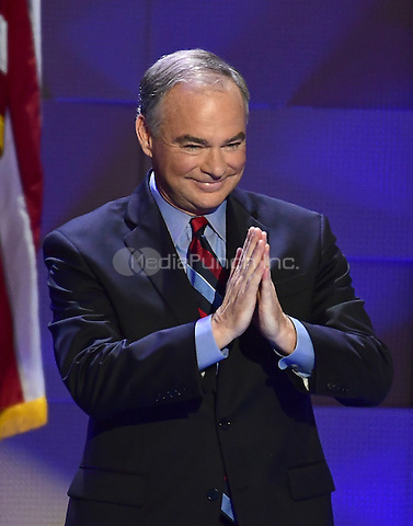 United States Senator Tim Kaine (Democrat of Virginia) makes remarks accepting the Democratic Party nomination for Vice President of the US during the third session of the 2016 Democratic National Convention at the Wells Fargo Center in Philadelphia, Pennsylvania on Wednesday, July 27, 2016.<br /> Credit: Ron Sachs / CNP/MediaPunch<br /> (RESTRICTION: NO New York or New Jersey Newspapers or newspapers within a 75 mile radius of New York City)