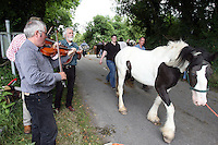 23/6/2009. Spancill Hill horse fair. Musicians Tony Trundle, Jed Foley and Johnny Moinihan are at the Spancill Hill horse Fair Co Clare.At one time, Spancill hill was said to be Ireland's largest fair with buyers from Britain, Russia, Prussia, and France competing to purchase the best stock for their Imperial armies. Recently the fair has been revived and is now going from strength to strength..Spancill Hill is also traditional Irish folk song which bemoans the plight of the Irish immigrants who so longed for home from their new lives in America, many of them who went to America with the Gold Rush.This song is sung by a man who longs for his home in Spancill Hill, his friends and the love he left there. All the characters and places in this song are real. Picture James Horan/Photocall Ireland