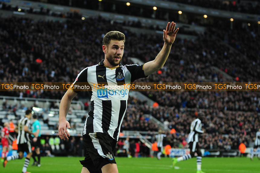 Paul Dummett of Newcastle United tries to get the ball back after Ciaran Clark of Newcastle United scores an equaliser during Newcastle United vs Bristol City, Sky Bet EFL Championship Football at St. James' Park on 25th February 2017