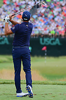 Rickie Fowler (USA) watches his tee shot on 9 during Saturday's round 3 of the 117th U.S. Open, at Erin Hills, Erin, Wisconsin. 6/17/2017.<br /> Picture: Golffile | Ken Murray<br /> <br /> <br /> All photo usage must carry mandatory copyright credit (&copy; Golffile | Ken Murray)