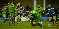 Bath Rugby's James Phillips is tackled by Northampton Saints' Piers Francis<br /> <br /> Photographer Bob Bradford/CameraSport<br /> <br /> Anglo-Welsh Cup Semi Final - Bath Rugby v  Northampton Saints - Friday 9th March 2018 - The Recreation Ground - Bath<br /> <br /> World Copyright &copy; 2018 CameraSport. All rights reserved. 43 Linden Ave. Countesthorpe. Leicester. England. LE8 5PG - Tel: +44 (0) 116 277 4147 - admin@camerasport.com - www.camerasport.com