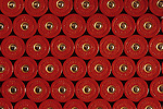 Rows of shotgun shells, 12 gauge, patterns of shells, red.