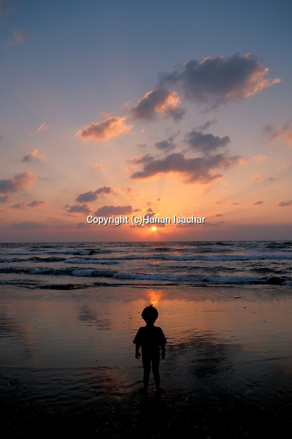 Israel, Sharon region, Sunset at Caesarea beach
