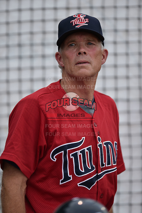 Elizabethton Twins manager Ray Smith #2 during a game against the  Bristol Pirates at Joe O'Brien Field June 30, 2014 in Elizabethton, Tennessee. The Twins defeated the Pirates 8-5 in game one of a double header. (Tony Farlow/Four Seam Images)