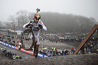 Wout Van Aert (BEL/Crelan-Vastgoedservice) up the 44 steps<br /> <br /> Grand Prix Adrie van der Poel, Hoogerheide 2016<br /> UCI CX World Cup