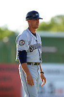 Mahoning Valley Scrappers manager Travis Fryman (17) during a game against the Batavia Muckdogs on June 23, 2015 at Dwyer Stadium in Batavia, New York.  Mahoning Valley defeated Batavia 11-2.  (Mike Janes/Four Seam Images)