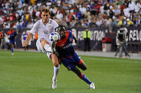 Jimmy Conrad (12) of the United States (USA) plays the ball The United States and Haiti played to a 2-2 tie during a CONCACAF Gold Cup Group B group stage match at Gillette Stadium in Foxborough, MA, on July 11, 2009. .