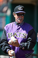 Louisville Bats pitching coach Ted Power (48) in the dugout during a game against the Buffalo Bisons on May 2, 2015 at Coca-Cola Field in Buffalo, New York.  Louisville defeated Buffalo 5-2.  (Mike Janes/Four Seam Images)