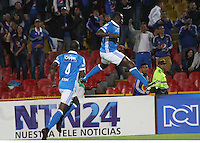 BOGOTA -COLOMBIA, 5-02-2017.Eliser Quinonez player of Millonarios  celebrates his goal against of Independiente Medellin  during match for the date 1 of the Aguila League I 2017 played at Nemesio Camacho El Campin stadium . Photo:VizzorImage / Felipe Caicedo  / Staff