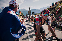 """Greg Van Avermaet (BEL/BMC) coming through """"Dutch Corner"""" (#7) on Alpe d'Huez<br /> <br /> Stage 12: Bourg-Saint-Maurice / Les Arcs > Alpe d'Huez (175km)<br /> <br /> 105th Tour de France 2018<br /> ©kramon"""