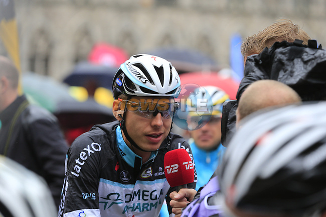 Tony Martin (GER) Omega Pharma-Quick Step waits on the start line in Ypres before the start of the cobbled stage Stage 5 of the 2014 Tour de France running 155.5km from Ypres to Arenberg. 9th July 2014.<br /> Picture: Eoin Clarke www.newsfile.ie