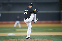 Wake Forest Demon Deacons relief pitcher Bobby Hearn (34) in action against the Notre Dame Fighting Irish at David F. Couch Ballpark on March 10, 2019 in  Winston-Salem, North Carolina. The Fighting Irish defeated the Demon Deacons 8-7 in 10 innings in game two of a double-header. (Brian Westerholt/Four Seam Images)