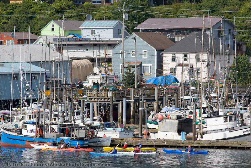 Kayakers, commercial fishing vessels, Sitka Channel, Sitka, Alaska