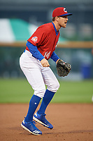 Buffalo Bisons third baseman Patrick Kivlehan (14) during an International League game against the Scranton/Wilkes-Barre RailRiders on June 5, 2019 at Sahlen Field in Buffalo, New York.  Scranton defeated Buffalo 4-0, the second game of a doubleheader. (Mike Janes/Four Seam Images)