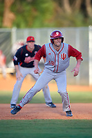 Indiana Hoosiers first baseman Austin Cangelosi (18) during a game against the Illinois State Redbirds on March 4, 2016 at North Charlotte Regional Park in Port Charlotte, Florida.  Indiana defeated Illinois State 14-1.  (Mike Janes/Four Seam Images)