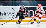Stockholm 2014-02-24 Ishockey Hockeyallsvenskan Djurg&aring;rdens IF - S&ouml;dert&auml;lje SK :  <br /> Djurg&aring;rdens Nicklas Heiner&ouml; i kamp om pucken med S&ouml;dert&auml;ljes Mike Bergin<br /> (Foto: Kenta J&ouml;nsson) Nyckelord: