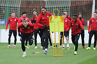 (L-R) Gareth Bale. Ashley Williams and Rabbi Matondo of Wales in action during the Wales Training Session at The Vale Resort, Hensol, Wales, UK. Monday 19 November 2018