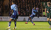 Myles Weston of Wycombe Wanderers scores his side's third goal during the Sky Bet League 2 match between Plymouth Argyle and Wycombe Wanderers at Home Park, Plymouth, England on 26 December 2016. Photo by Mark  Hawkins / PRiME Media Images.