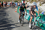 Romain Bardet (FRA) AG2R and Richard Antonio Carapaz (ECU) Movistar on the final climb during Stage 14 of the 2017 La Vuelta, running 175km from &Eacute;cija to Sierra de La Pandera, Spain. 2nd September 2017.<br /> Picture: Unipublic/&copy;photogomezsport | Cyclefile<br /> <br /> <br /> All photos usage must carry mandatory copyright credit (&copy; Cyclefile | Unipublic/&copy;photogomezsport)